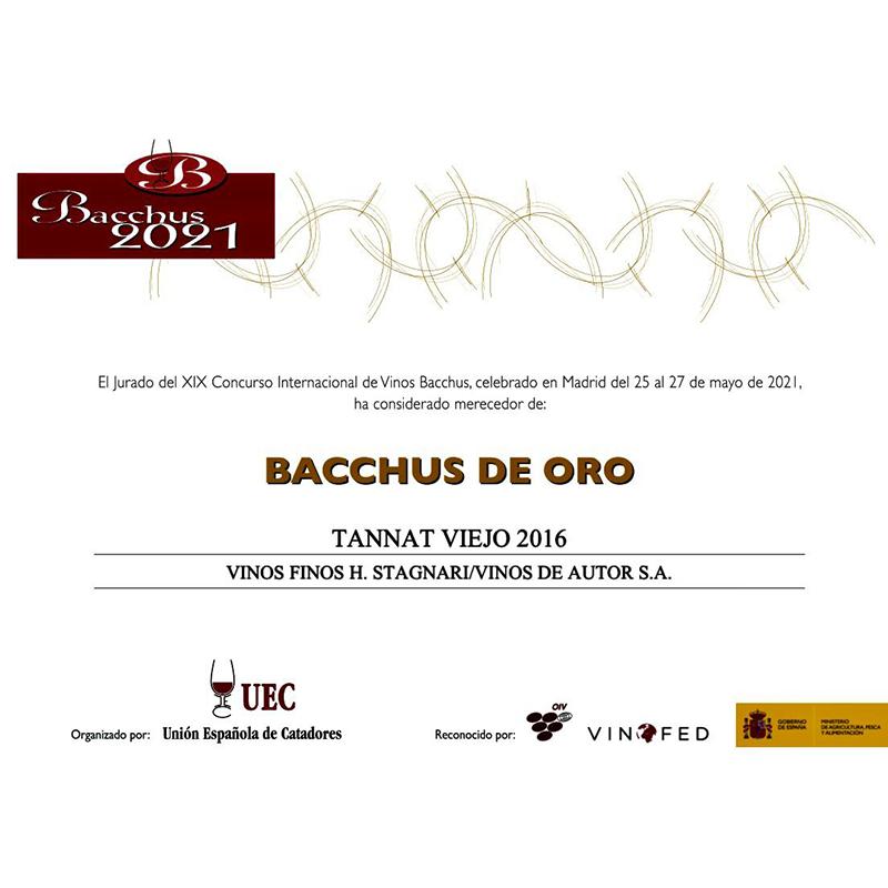 Tannat VIejo 2016 Medalla de Oro Bacchus 2021